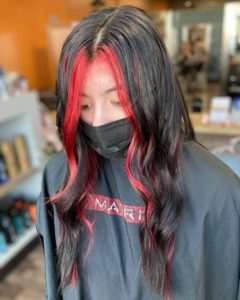 pops of red hair color sioux falls